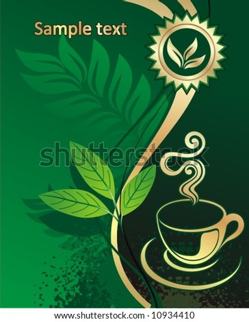 Background for design - green tea - stock vector