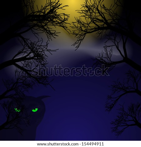 Background for Halloween. Black cat with green eyes at night under the moon in the trees. Vector illustration. - stock vector