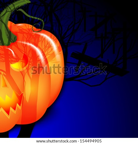 Background for Halloween. Pumpkin under the moon. Vector illustration.