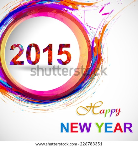 Background for Happy New Year 2015 colorful grunge celebration card vector  - stock vector
