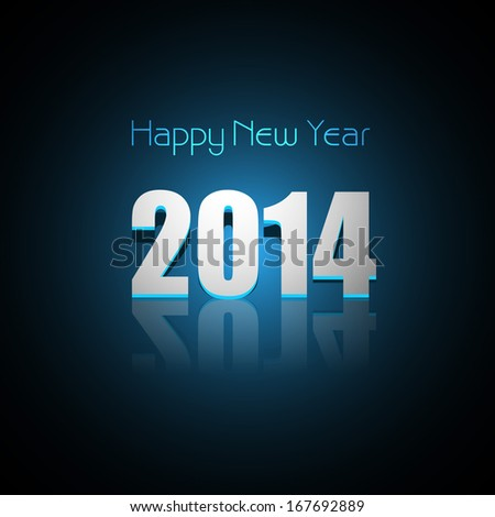 Background for Happy New Year 2014 reflection blue colorful vector
