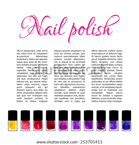 Background for nail salon with watercolor painted nail polishes - stock vector