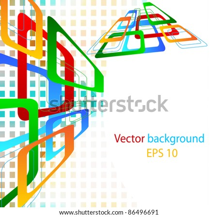 Background for notes from color geometrical figures and strias