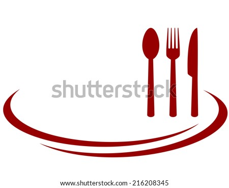 background for restaurant with red fork, knife and spoon - stock vector