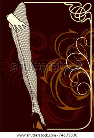 Background for the sample text with elements of ornaments and pin-up. - stock vector