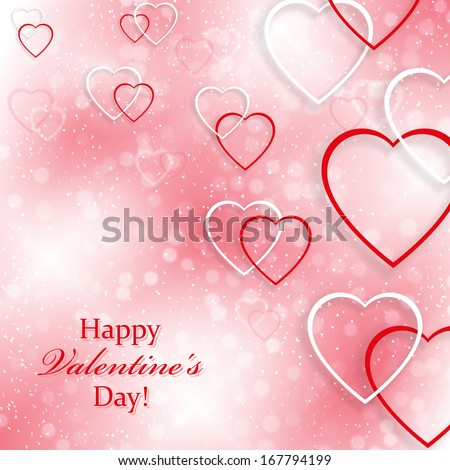 Background for Valentine's Day with hearts
