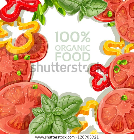 Background for your text with delicious and fresh vegetables - stock vector