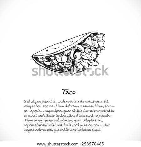 Background for your text with doodles on the theme Mexican fast food - tacos - stock vector