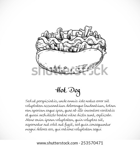 Background for your text with doodles on the theme of fast food - hotdog - stock vector