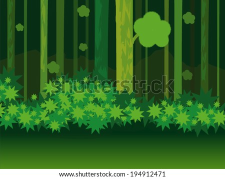 Background forest cartoon vector - stock vector