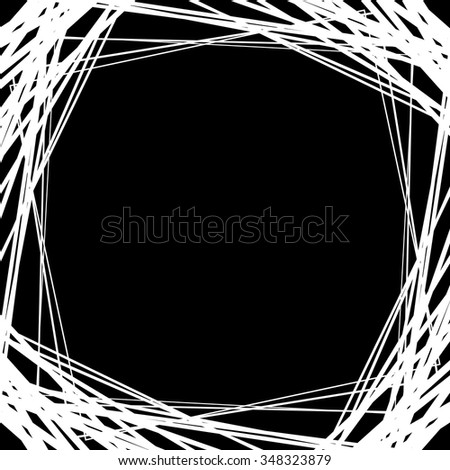 Background frame, border with random squares, lines. Abstract monochrome background with empty space. - stock vector