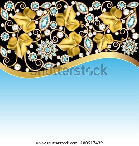 background frame with jewels of ornaments - stock vector