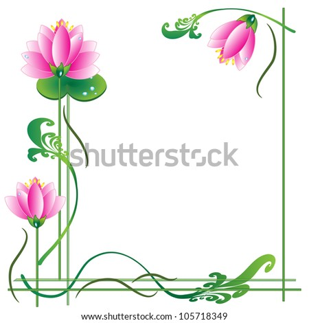 Background- frame  with  lotuses, vector - stock vector