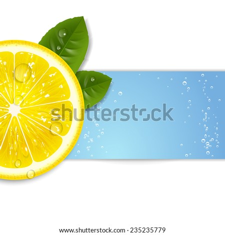 background fresh lemon with water - stock vector