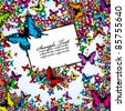 Background from color butterflies with label for your text - stock vector