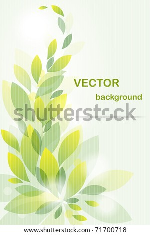 Background from  flying green leaves - stock vector