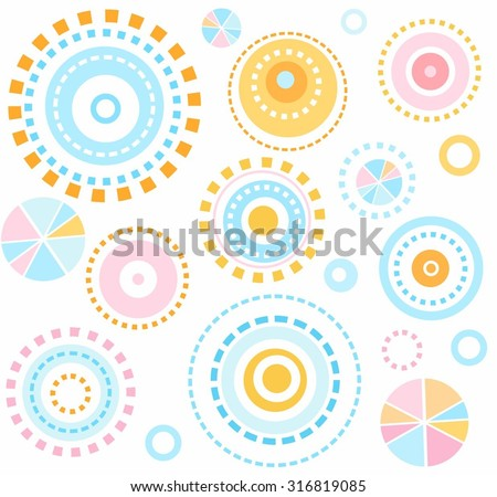 Background geometric, circles, seamless, kids, white abstraction. The geometric pattern of colorful circles on a white background. Children's background. For print and textile prints.