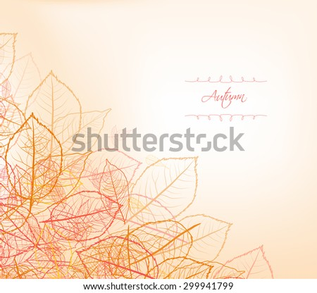 Background, greeting card with stylized autumn leaves - stock vector