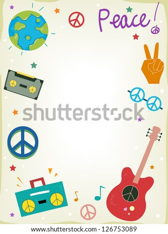 Background Illustration Featuring Symbols of Peace - stock vector