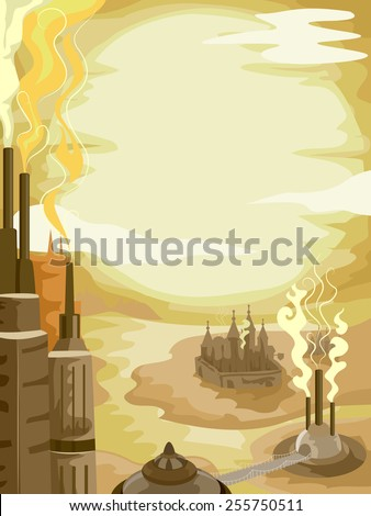 Background Illustration of a Steampunk City in the Middle of the Desert - stock vector
