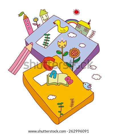 Background Illustration of books. - stock vector