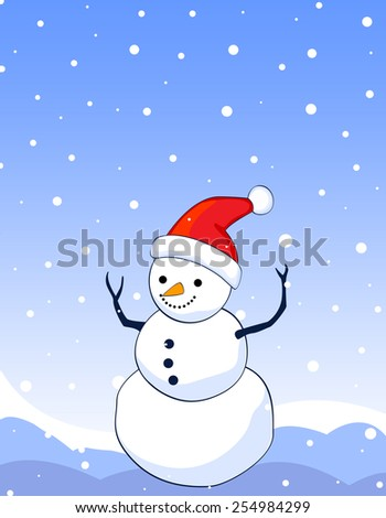 Background illustration of happy smiling snowman on blue falling snow background snowman wearing red santa hat. - stock vector