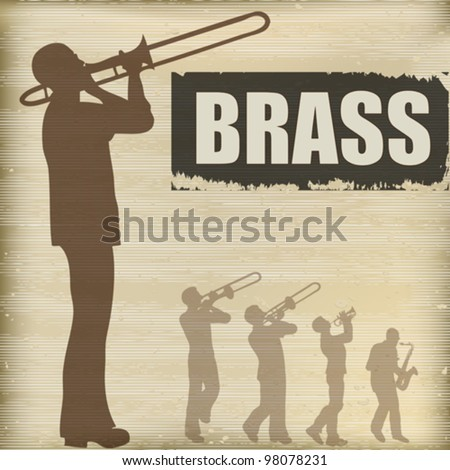 Background illustration with a band of brass playing musicians - stock vector