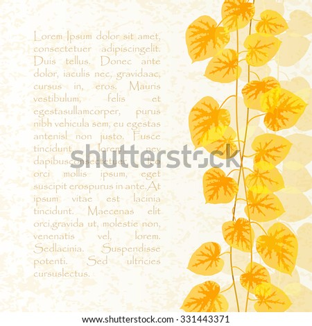 Background image with autumn leaves creeper morning glory with space for text.