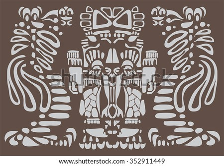 Background in American Indian Style with Mayan ornament - stock vector