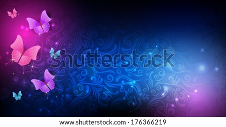 Background in dark colors with swirl pattern and butterflies - stock vector