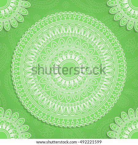 Background in Indian style with paisley pattern and rangoli. Vector illustration.