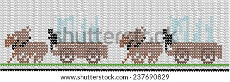 Background in style of an embroidery cowboy's vehicle with horses - stock vector
