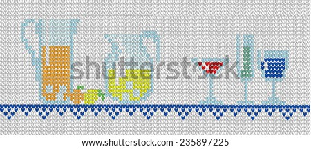 Background in style of an embroidery drinks in glasses - stock vector