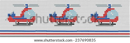 Background in style of an embroidery helicopter - stock vector