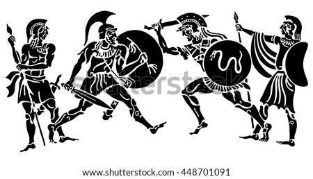 Background in the Greek style. Three warriors defending himself from the attack on a white background. - stock vector