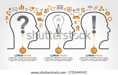 Background infographics with human heads, business icons and text. Business concept - the problem, the idea and success. The file is saved in the version AI10 EPS. This image contains transparency. - stock vector