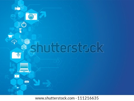 background interface of the buttons in the form of a touch screen with icons. - stock vector