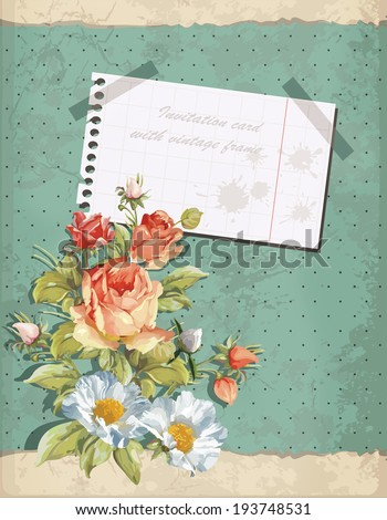Background invitation card with vintage frame. Happy Birthday illustration with flowers - stock vector