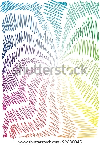 background is hand-painted, graphic, children, rainbow,  wave, hand-drawn - stock vector