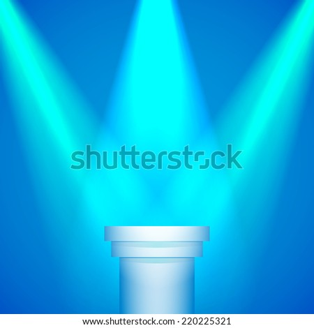 Background: Lights spotlights on a pedestal for your business product - stock vector