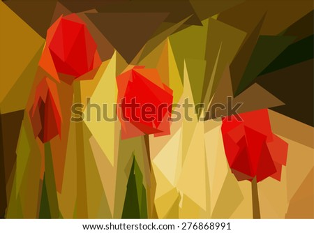 background  low poly tulips in the garden  - stock vector