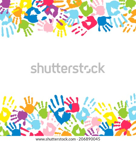 Background made from color handprints. - stock vector