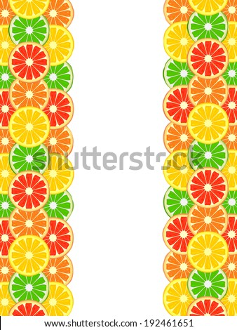 Background made of grapefruit, orange, lemon and lime slices. Vertical citrus borders