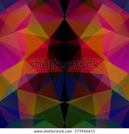 Background made of triangles. Red, orange, pink, purple, blue, green colors.  Square composition with geometric shapes. Eps 10 - stock vector