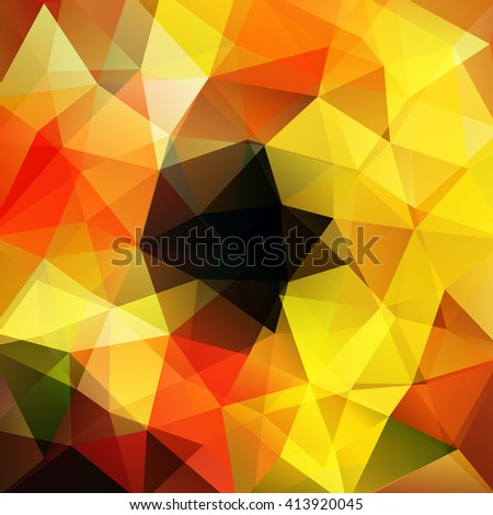 Background made of triangles. Square composition with geometric shapes. Eps 10 Black, yellow, red colors.  - stock vector