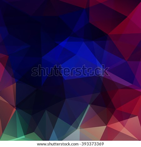 Background made of triangles. Square composition with geometric shapes. Eps 10. Blue, red, green colors.  - stock vector