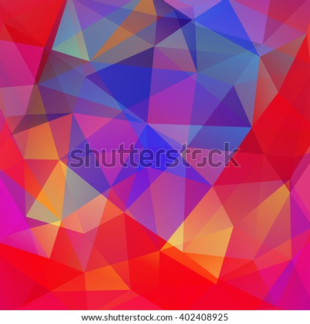 Background made of triangles. Square composition with geometric shapes. Eps 10 Red, blue, yellow colors.  - stock vector