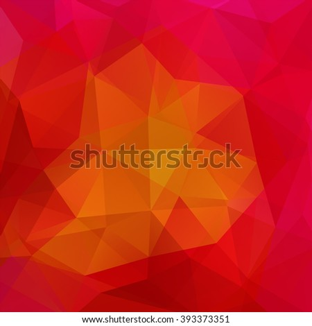 Background made of triangles. Square composition with geometric shapes. Eps 10. Red, orange colors.  - stock vector