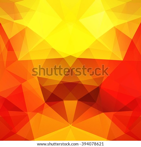 Background made of triangles.  Square composition with geometric shapes. Eps 10. Yellow, orange, red colors.  - stock vector