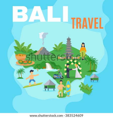 Background map Bali travel green island on blue sea with pictures of tourist places vector illustration